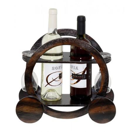 Дървена поставка за вино и чаши, Каляска