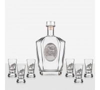 Комплект за ракия Ловджия - бутилка и шест чаши