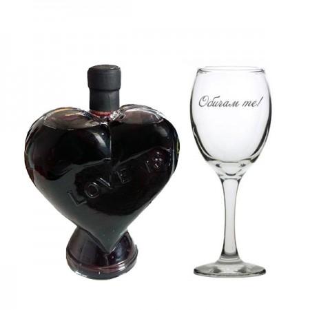 Комплект бутилка сърце и чаша за вино Обичам те