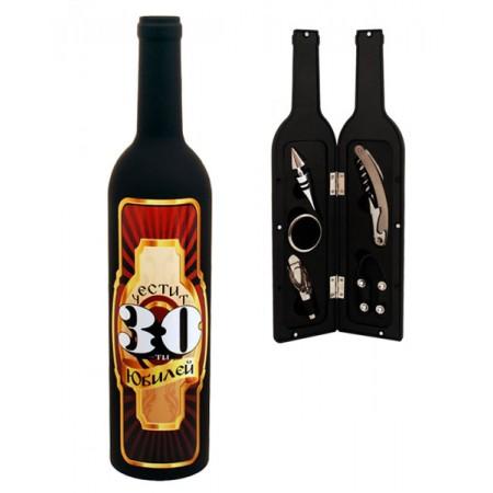Сет за вино с 5 аксесоара, в бутилка - 30 юбилей
