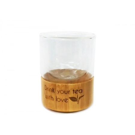 Комбинирана чаша за чай от бамбук и стъкло, с опция за гравиране
