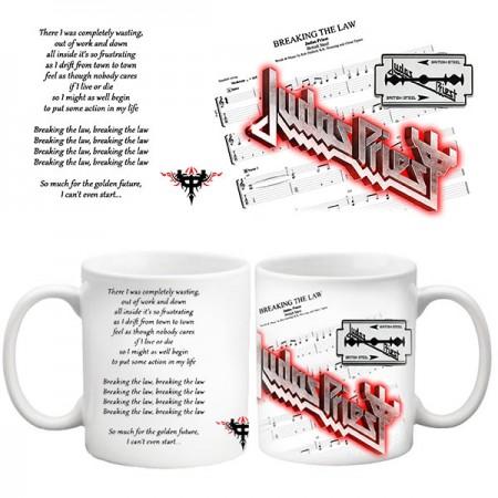 Бяла керамична чаша Judas Priest British Steel