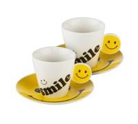 """Комплект чаши за кафе с чинийки """"Усмивка"""""""