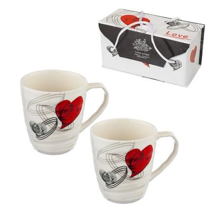 Комплект 2 чаши за кафе/чай със сърце
