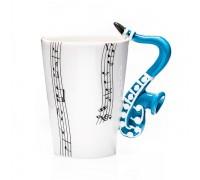 Бяла порцеланова чаша, с дръжка музикален инструмент, варианти