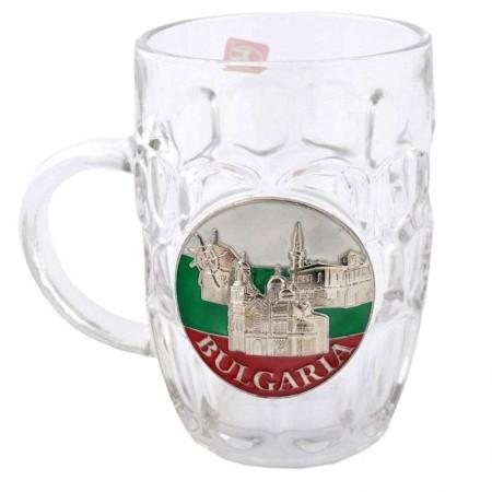 """Стъклена халба за бира """"България"""""""
