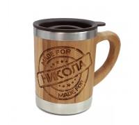 Термо чаша за кафе от бамбук, с възможност за гравиране