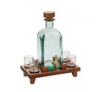 Бутилка за алкохол с чешмичка и 4 чаши