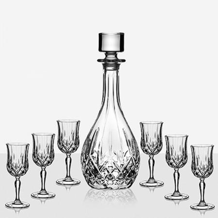Елегантен сет Opera за ракия - бутилка и 6 стъклени чаши