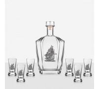 Сет за ракия - бутилка и чаши с декорация кораб