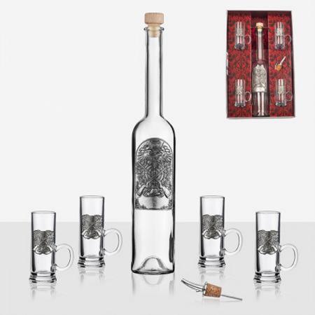 Сет за ракия - бутилка и чаши с декорация пушки