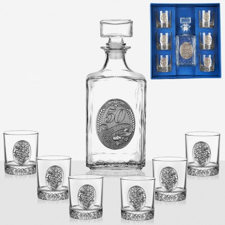 Елегантен сет за уиски - бутилка и 6 чаши 50 юбилей