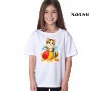 """Соларна тениска""""Коте на плажа"""" детска"""