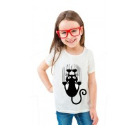Бяла тениска с коте, детска