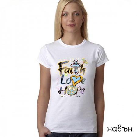 Соларна тениска ''Faith, love, hope'', дамска