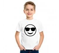 Бяла тениска с усмихнато лице, детска