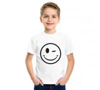 Тениска с намигнал емотикон за дете, унисекс
