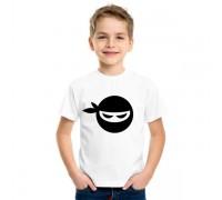 Бяла тениска за момче с нинджа
