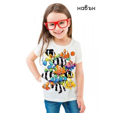 Соларна тениска цветни Риби, детска