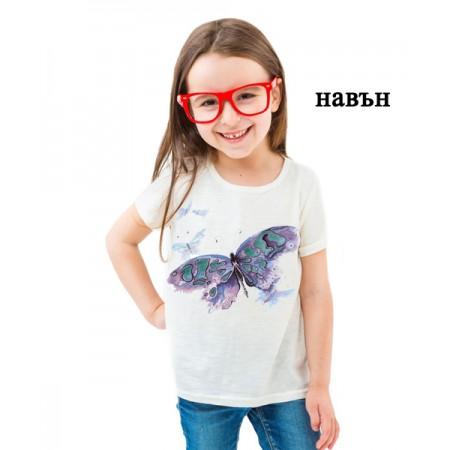 Соларна тениска Пеперуда, водни боички