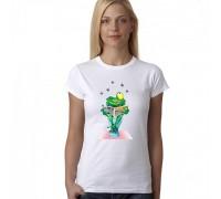 """Тениска с надпис """"Frog Hunter"""" , дамска"""