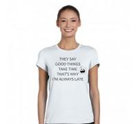 """Тениска с надпис """"Good Things"""", дамска"""