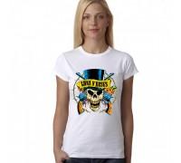 """Дамска тениска с надпис  """"Guns N' Roses череп"""""""