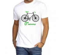 Тениска с надпис 0лв/литър с колело ,мъжка