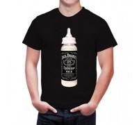 """Забавна мъжка тениска с надпис """"Мляко - Джак Даниелс"""""""