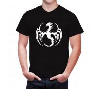 Мъжка тениска Дракон , бял/черен цвят