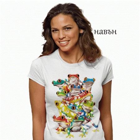 """Соларна тениска """"Цветни жаби"""", дамска"""