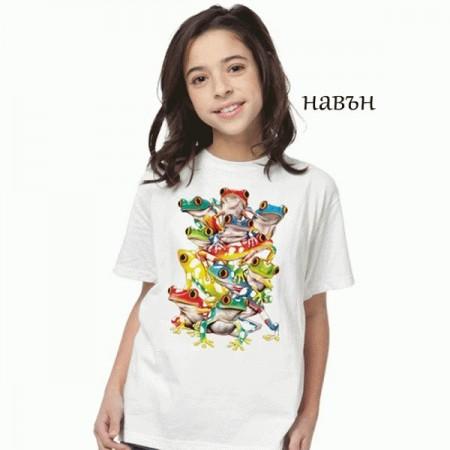 """Соларна тениска """"Цветни Жаби"""", детска"""