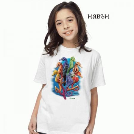 "Соларна тениска ""Морски кончета"", детска"