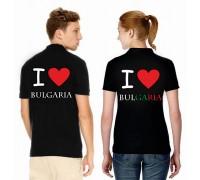 Дамска/мъжка тениска с надпис ''Аз обичам България''