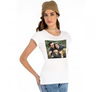 Бяла тениска с печат на Ваша снимка,дамска