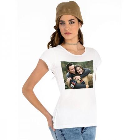 Бяла тениска с печат на Ваша снимка, дамска