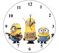 Детски стенен часовник Миньони, d 26 см