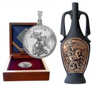 Комплект със сребърна монета и вино за Гергьовден