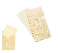 Луксозна картичка за юбилей или сватба, златиста, 21*11см