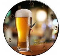 Стенен часовник Време за бира, d 26 см