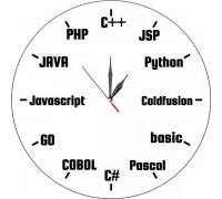Стенен часовник за програмисти, d 26 см