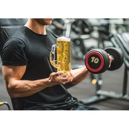 """Голяма стъклена халба за бира """"Мускул"""", 620 мл"""