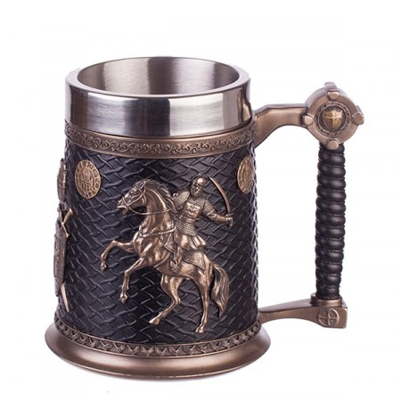 Халба за бира от неръждаема стомана с конник