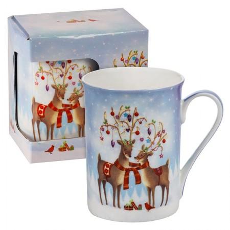 """Коледна чаша """"Влюбени еленчета"""""""