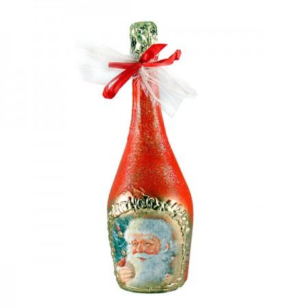 """Бутилка """"Арт"""" шампанско с Дядо Коледа"""