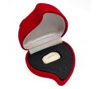 """Гравирано бобче с надпис """"Обичам те"""" в плюшена кутия сърце"""