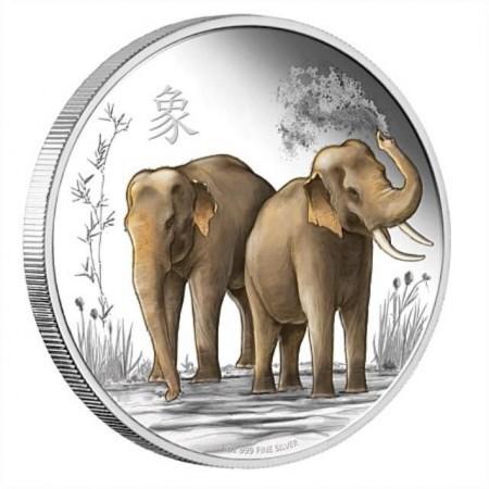 """""""Щастие, сила и късмет - Слончета"""", сребърна монета"""