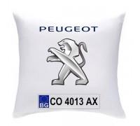 Възглавничка с номера и марката на автомобила, Пежо
